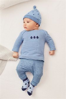 Blue Ship Four Piece Set (0mths-2yrs)