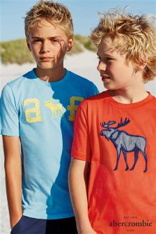 Blue Abercrombie & Fitch Text T-Shirt