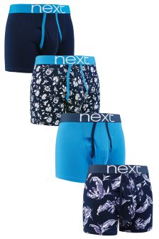 Blue Floral A-Fronts Four Pack