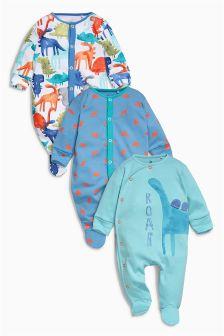 Dinosaur Sleepsuits Three Pack (0mths-2yrs)