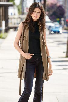 Honey Tencel® Sleeveless Utility Belted Jacket