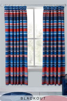Geo Stripe Blackout Pencil Pleat Curtains