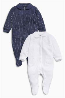 Navy/White Smart Sleepsuits Two Pack (0mths-2yrs)