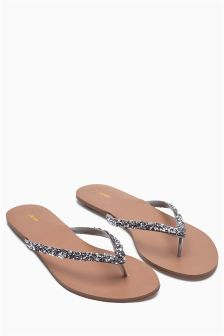 Pewter Crystal Effect Toe Thong Sandals