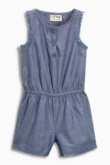 Blue Chambray Playsuit (3mths-6yrs)