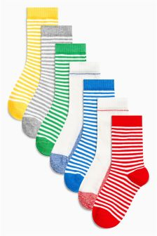 Primary Stripe Socks Seven Pack (Younger Boys)