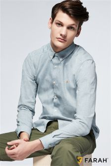 Farah Light Grey Oxford Shirt