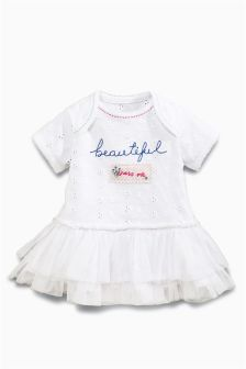 White Beautiful Tu-Tu Bodysuit (0mths-2yrs)