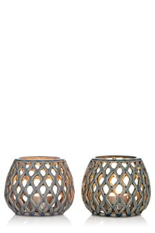 Set Of 2 Lattice Ceramic Tealight Holders