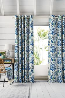 Blue Ikat Print Eyelet Curtains