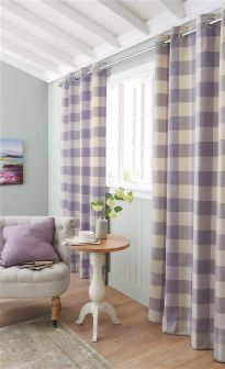 Mauve Cosy Herringbone Woven Check Eyelet Curtains