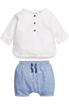 White & Blue Linen Mix Shorts Set (0mths-2yrs)