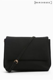 Warehouse Black Grainy Cross Body Bag