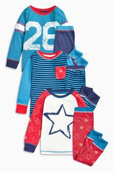 Stripe Star Pyjamas Three Pack (9mths-8yrs)