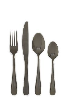 16 Piece Black Cutlery