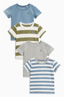 Multi Stripe Short Sleeve T-Shirts Four Pack (3mths-6yrs)
