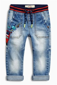 Denim Mid Blue Jolly Transport Jeans (3mths-6yrs)