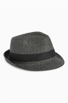 Grey Twist Trilby Hat