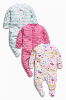 All-Over Print Flamingo Sleepsuits Three Pack (0mths-2yrs)