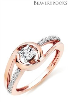 Beaverbrooks 9ct Rose Gold Cubic Zirconia Ring