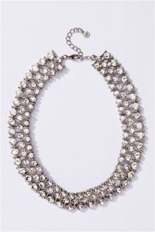 Crystal Effect 3 Row Necklace