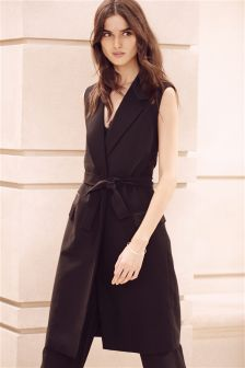 Black Satin Back Sleeveless Jacket