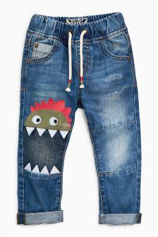 Mid Blue Dinosaur Jeans (3mths-6yrs)