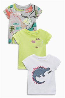 Green/Pink/Grey Bright Dino T-Shirts Three Pack (3mths-6yrs)