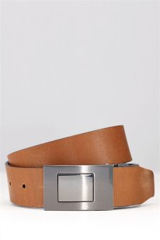 Tan and Black Leather Reversible Plaque Belt