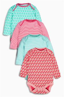 Multi All Over Print Long Sleeve Bodysuits Four Pack (0mths-2yrs)