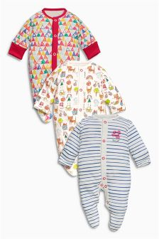 Three Pack Scribble Cat Sleepsuits (0mths-2yrs)