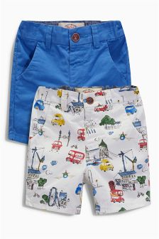 City Print And Blue Shorts Two Pack (3mths-6yrs)