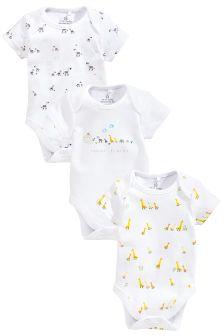 Noah's Ark Short Sleeve Bodysuits Three Pack (0-12mths)