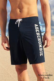 Abercrombie & Fitch Navy Logo Swim Short