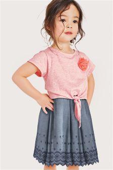 Pink/Blue Corsage Dress (3mths-6yrs)