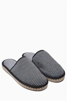 Stripe Espadrille Mule Slippers