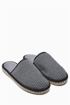 Grey/Black Stripe Espadrille Mule Slippers