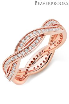 Beaverbrooks Silver Rose Gold Plated Cubic Zirconia Stacking Ring