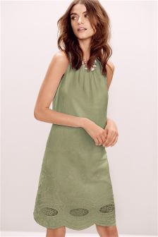 Khaki Linen Blend V Back Broderie Dress