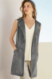 Grey Sleeveless Suedette Jacket