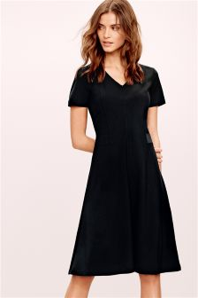 Black Workwear Waisted Dress