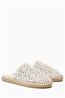 Lace Espadrille Mule Slippers