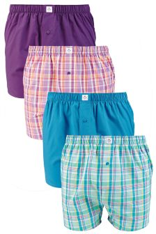 Bright Check Woven Boxers Four Pack