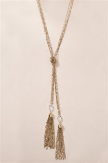 Silver Coloured Beaded Detail Tassel Necklace