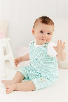 Mint Whale Dungarees With Bodysuit (0mths-2yrs)