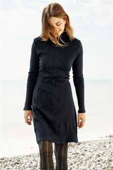 Roll Neck Ribbed Dress