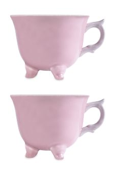 Set Of 2 Floral Footed Mugs