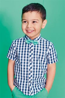 Short Sleeve Gingham Shirt And Bow Tie Set (3mths-6yrs)
