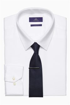 White Slim Fit Shirt, Tie And Tie Clip Set
