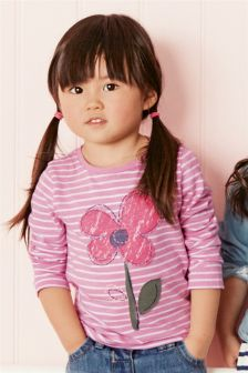 Pink Stripe Flower Long Sleeve Top (3mths-6yrs)